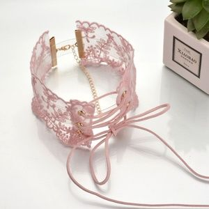 Jewelry - Pink Lace Choker w/ Velvet Tie Front